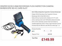 DRAPER 05163 5.5MM RECORDING FLEXI INSPECTION CAMERA BORESCOPE SD-HC CARD SLOT