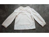 """White long-sleeved Scottish blouse: 26"""" chest"""