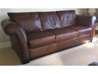 Two immaculate 3-seater brown leather sofas (can be bought separately - £395 each)