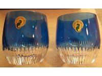 Waterford Crystal Mixology Argon Blue (pair) Tumblers. Brand New, Unused.