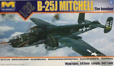HK Models 1:32 B-25 J Mitchell Glass Nose Bomber Plastic Model Kit #01E01