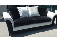 Very Crushed Velvet Silver and Black 3 seater sofa.