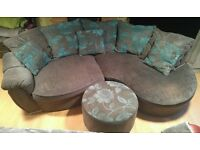 Lovely Large Dfs sofa with matching swivel chair and pouffr