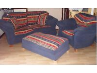 2 seater sofa and chair with large foot stool blue with red and gold pattern very comfy