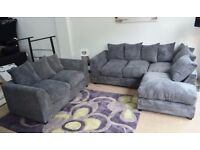 **7-DAY MONEY BACK GUARANTEE!** Dylan Jumbo Cord Corner Sofa Suite or 3 and 2 Set -SAME DAY DELIVERY