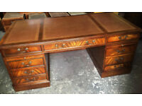 Pedestal desk with leather inlaid top