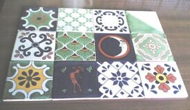 12 FAB NEW HANDMADE MEXICAN CERAMIC WALL TILES-FLORAL MIX-10.5CM X 10.5CM (Approx)