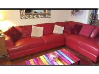 Solid Red Leather L shaped Corner Suite