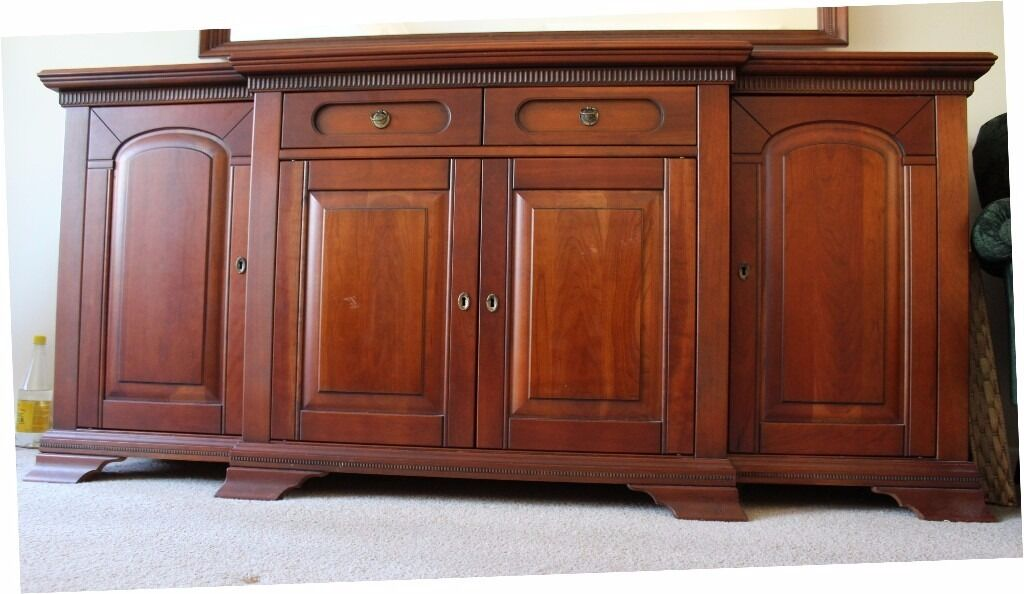 Dark cherry wood sideboard large vgc two side cupboards