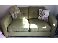 Green 2 seater settee and arm chair for sale
