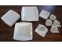 25 piece white square dinner set