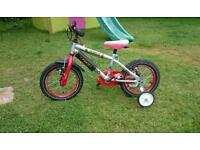 Boys bike with stabilisers to suit up to 5 year old