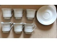 Cups and Saucers - white with silver trim