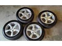 New 15 inch alloy wheels and tyres 195 55 15. Corsa polo