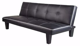 **7-DAY MONEY BACK GUARANTEE!** Premium Leather 3 Seater Sofa Bed Sofabed - SAME DAY DELIVERY!