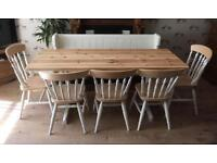 Solid Wood Farmhouse Dining Table Set