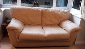 Used 3 and 2 Piece Beige Leather Sofa set - Collection Only