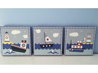 PRINTS - THREE NAUTICAL PRINTS WITH BLUE AND WHITE TRIMS (APPROX 22 cm x 22 cm)