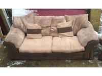 Brown and beige 3 seater sofa and arm chair