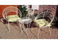 Set of Cream Garden Furniture complete with Cushions