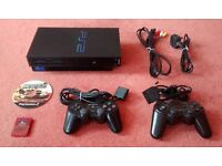SONY PlayStation 2 Fat Black Console + 2x Controllers + Memory Card + Leads + Battlefield 2 PS2 PHAT