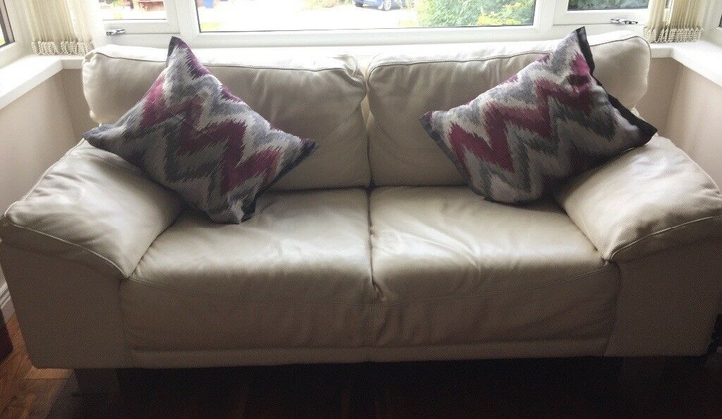 Leather two seater settee