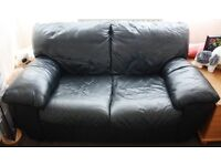 BLACK LEATHER TWO SEATER SOFA SETTEE