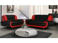 Red and black sofas