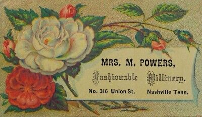 1870's-80's Mrs. M. Powers Fashionable Millinery Colorful Flowers P44