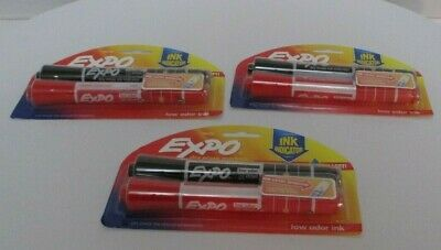3x Expo Dry Erase Markers Black Red Double Pack Chisel Tip Ink Indicator New