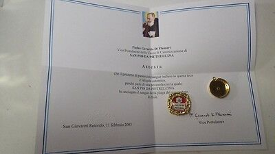 1st class relic from Padre Pio ex Sanguine Certificate.
