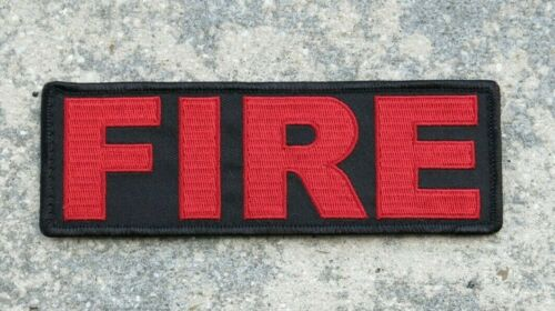 """FIRE ID Patch 2x6"""" with Red Lettering on Black for Body Armor, Bag, etc"""
