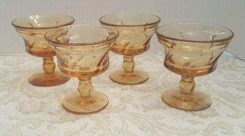 4 Fostoria JAMESTOWN AMBER Champagne Sherbets Glasses