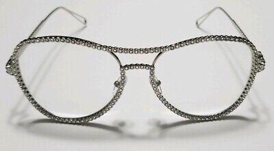 New Silver Simulated Diamond Eyeglasses- Designer Frames- Durable- High Quality (Eyeglass Simulator)