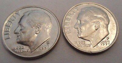 1997 P & D ROOSEVELT DIME SET 2 COINS
