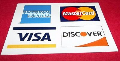 Credit Card Decal Sticker Visa Mastercard Discover American Ex 3 3 4  X 2 3 4