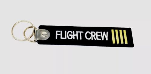 """Pilot Flight Crew Aviation Flying Embroidered 5"""" Keychain"""
