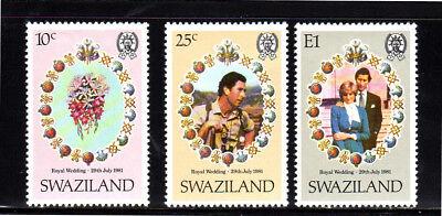 SWAZILAND #382-384  1981  ROYAL WEDDING   MINT  VF NH  O.G  b