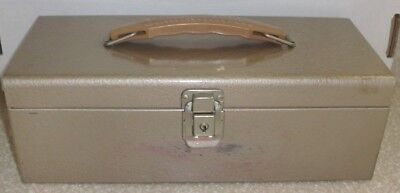 Vintage Metal Portable File Check Document Tan Box With Key