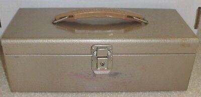 Vintage Metal Portable File Check Document Tan Box With Key