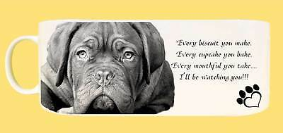 """Dogue de Bordeaux Dog Ceramic Mug with caption """"I'll be watching you"""" & Gift Tag"""
