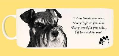 "Miniature Schnauzer Dog Ceramic Mug, caption ""I'll be watching you"" & Gift Tag"