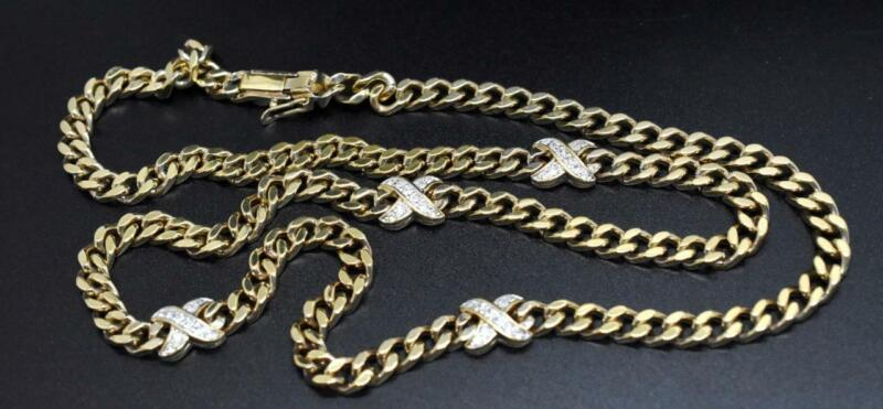 """PANETTA Gold Tone Cuban Curb Link Crystal Jeweled """"X"""" Station 26"""" Necklace"""