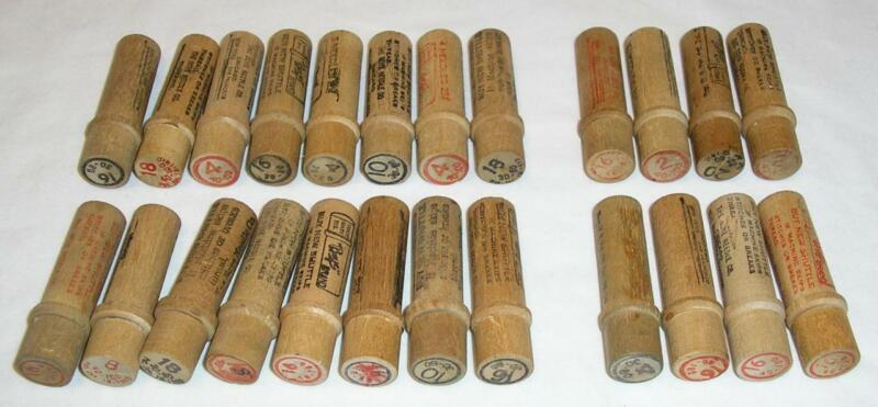 VTG LOT OF 24 BOYE WOODEN NEEDLE TUBES with NEEDLES