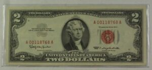 Series Of 1963 Two Dollar 2 Bill Red Seal United States Currency VG