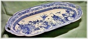 Large BLUE WILLOW SERVING PLATTER TRAY w Set-In Handles 58508