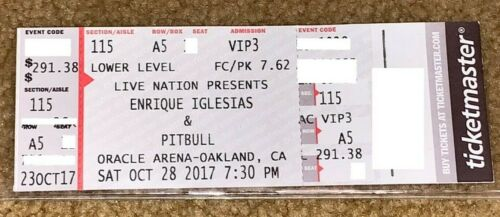 ENRIQUE IGLESIAS & PITBULL 2017 CONCERT TICKET STUB