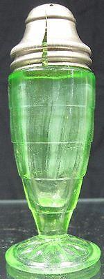 Vintage 1930's Depression Glass Anchor Hocking Block Optic Vaseline Green Salt S