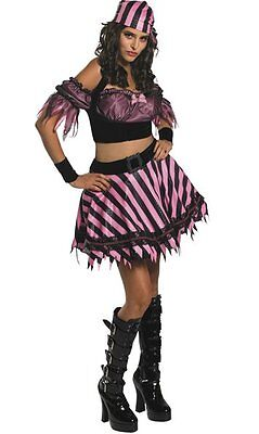 Pin-Up Pirate Girl Wench Black Pink Stripe Dress Up Sexy Halloween Adult Costume