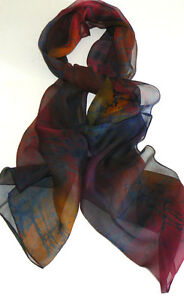 NEW Handmade 100% Silk Scarf Oblong Batik Hand Painted Dark Rainbow